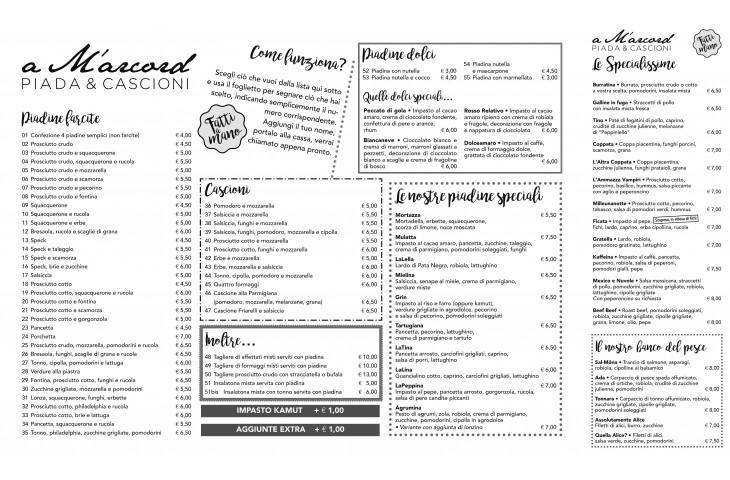 Ecco il nostro menu!
